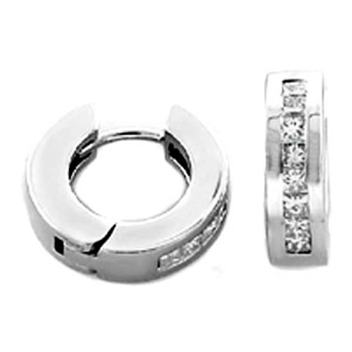 Princess Cut Diamond Hoop Earrings 0.80 tcw. H VS