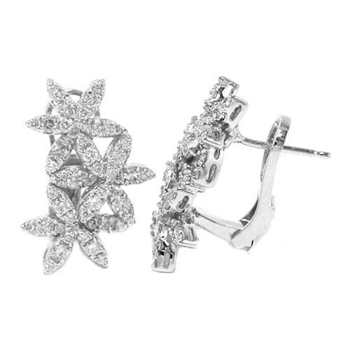 Diamond Triple Flower Drop Earrings 1.28 tcw. F VS