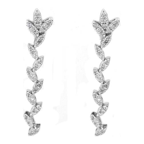 Dangling Falling Leaves Earrings 0.96 tcw. F VS