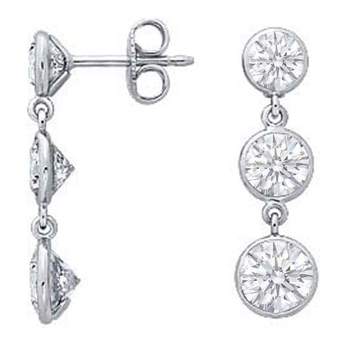 Three Stone Graduated Drop Round Diamond Bezel-Set Dangle Earrings 1 tcw. H SI
