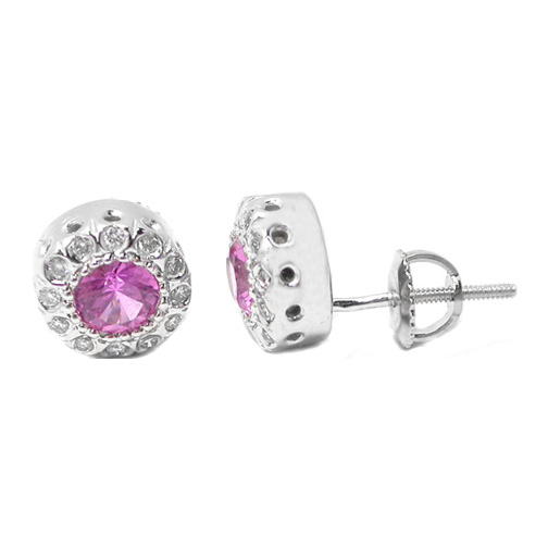 Pink Sapphire and Diamond Round Stud Earrings 1.34 tcw.