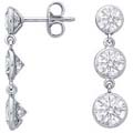 Three Stone Graduated Drop Round Diamond Bezel-Set Dangle Earrings