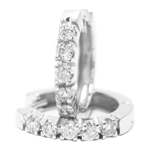 Round Diamond Hoop-Huggie Earrings 0.50 tcw. G-H, VS-SI in 14 Karat White Gold