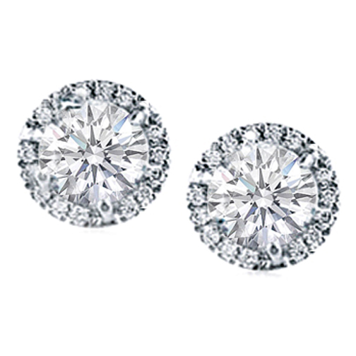 Round Diamond G Set Halo Earrings In 14 Karat White Gold H Si2 1 40 Tcw