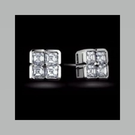 Asscher Cut Four Diamond Box Earrings 2.00 tcw.