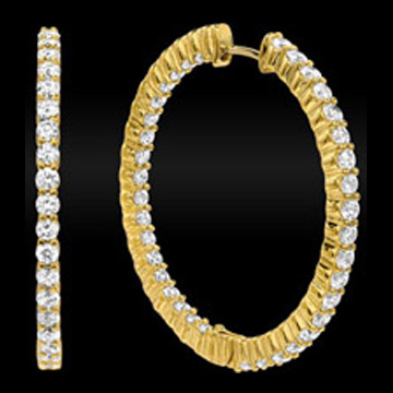 4.80 tcw. Hoop Diamond Earrings in 14 Karat Yellow Gold, H SI