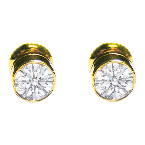 stud gold vintage bezel handmade earrings carat certified black set unique style diamond