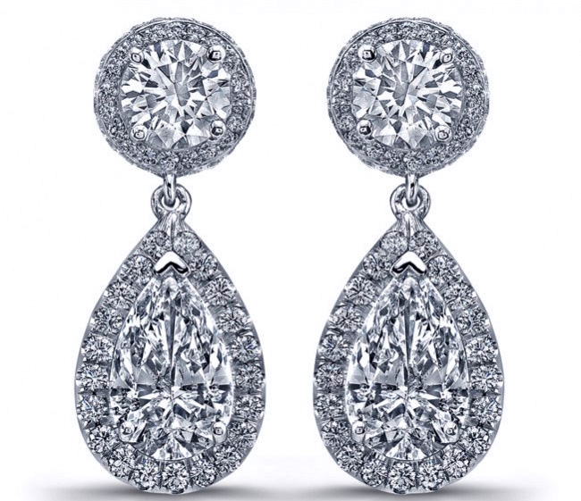 Tear drop Diamonds Dangling Earrings  in 14K White Gold