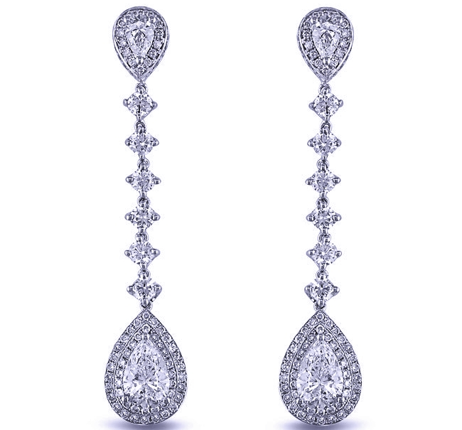 Pear Shape Diamond Dangling Earrings 2.98 tcw in 14K White Gold