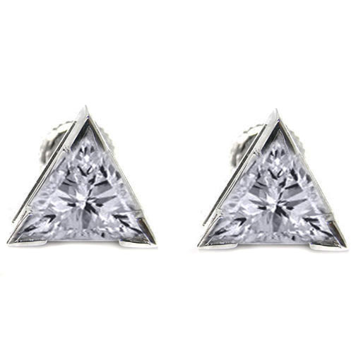 Trillion Cut Diamond Stud Earrings, J VS 1.06 tcw.