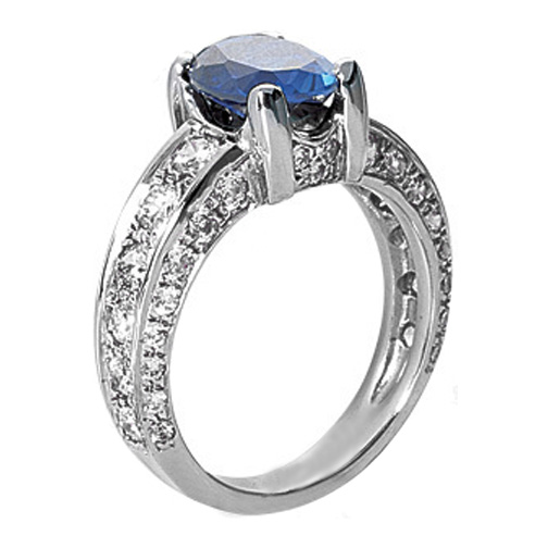 Oval Blue Sapphire Engagement Ring with pave diamond band