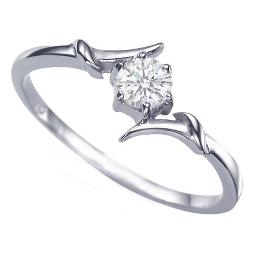 European Engagement Ring Round Diamond Swirl Engagement Ring
