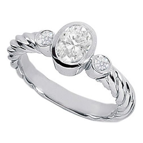3 Stone Lab-Grown Oval Diamond Bezel Rope Engagement Ring