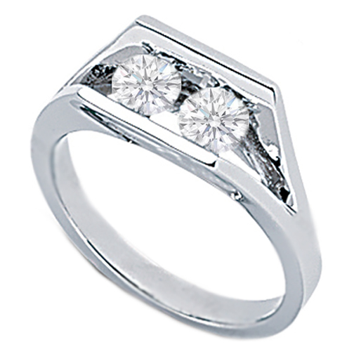 Duo Round Diamond Ring 0.50 Carat tw. In White Gold