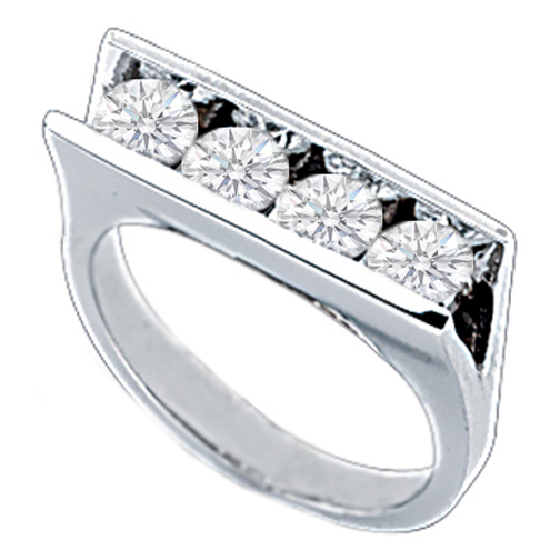 Quad Diamond Ring 1.2 Carat tw in 14K White Gold