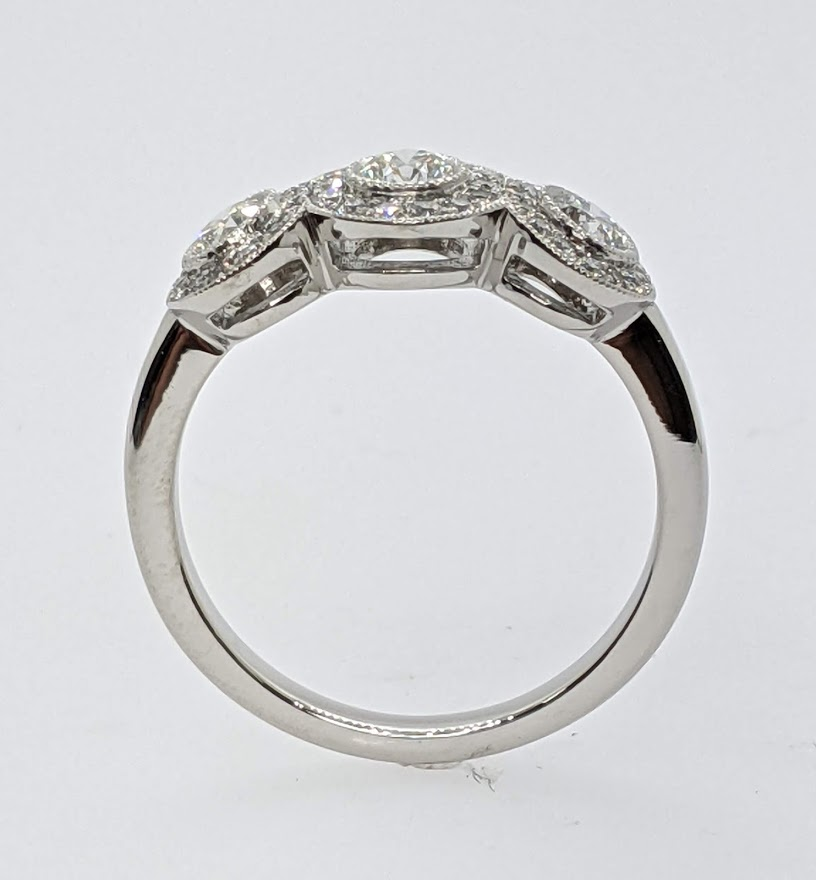 Three Stone Circlet Engagement Ring 0.55 tcw.