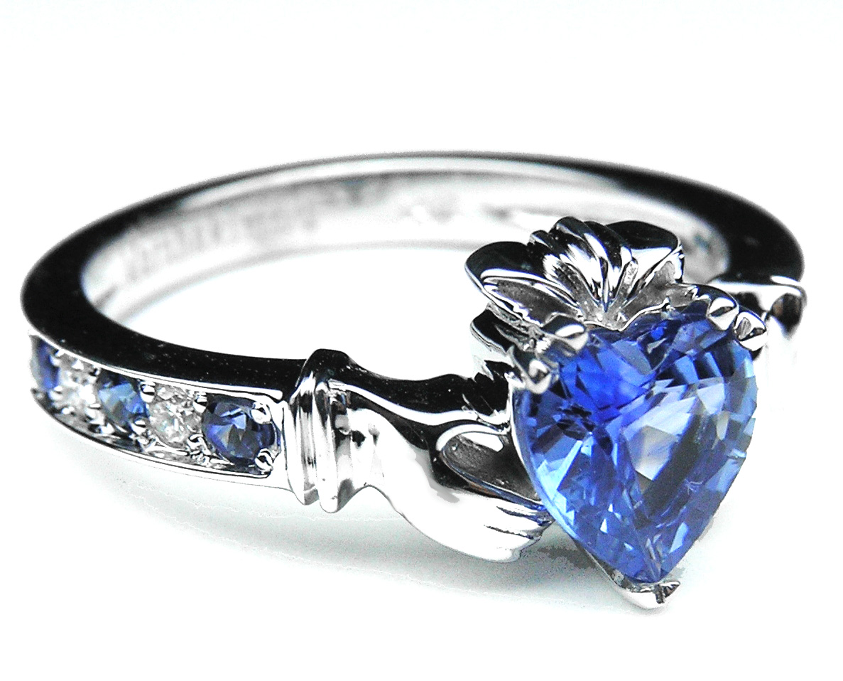 European Engagement Ring Claddagh Ring Heart Blue Sapphire 14K