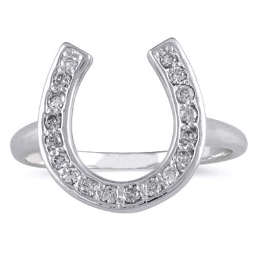 036 carat white gold horseshoe diamond ring - Horseshoe Wedding Rings