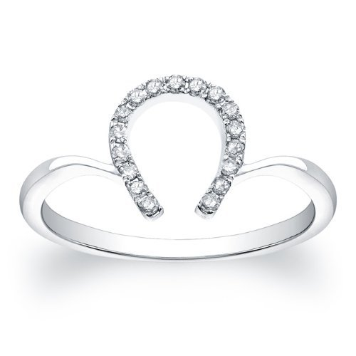 petite horseshoe ring 017 carat in 14k white gold - Horseshoe Wedding Rings