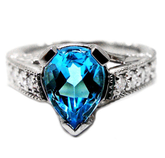 Pear Shape Blue Topaz Cathedral Ring with Round Diamond Accents, 2.65 tcw.