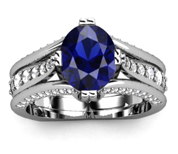 Oval Blue Sapphire Ring Bypass Diamond Accents
