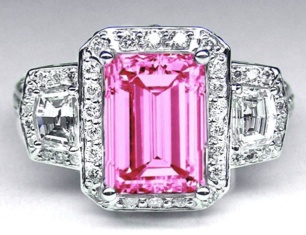 Emerald Cut Pink Sapphire Vintage Design Halo Ring with trapezoids side stones