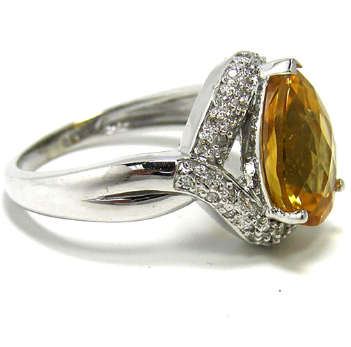 Pear Shape Twisted Diamond Halo Ring in 14K White Gold