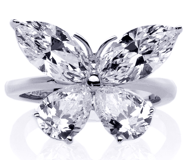 mixed cut butterfly diamond ring 1 carat total weight in 14k white gold - Butterfly Wedding Rings
