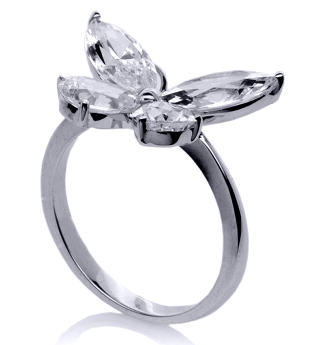 Mixed Cut Butterfly Diamond Ring  1 carat total weight in 14K White Gold