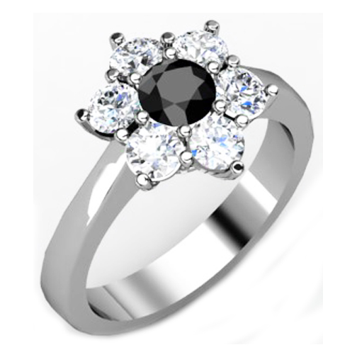 European Engagement Ring Black Diamond Flower Ring In White Gold
