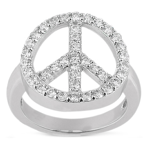 Diamond Peace Ring in 14 Karat White Gold