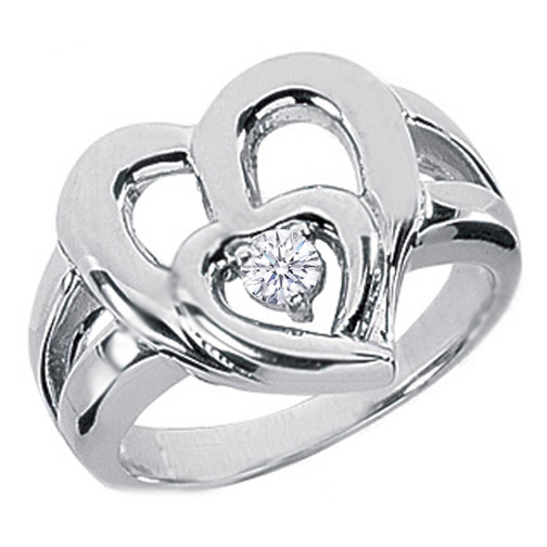 Heart Inside Heart Diamond Ring in White Gold