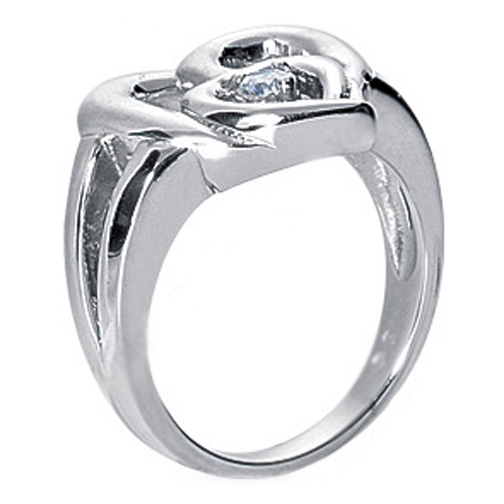 Heart Inside Heart Diamond Ring in 14K White Gold