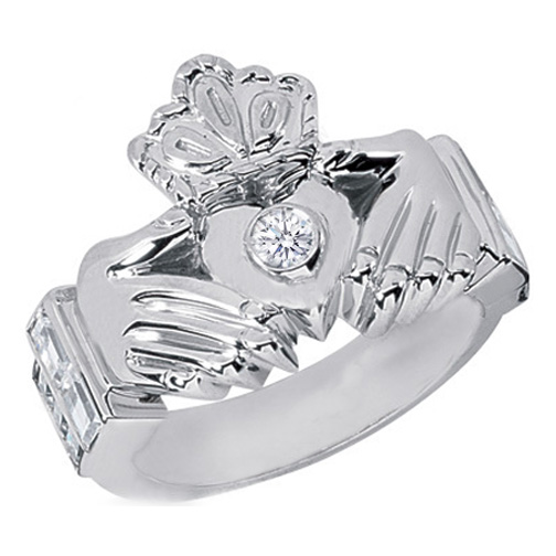 Claddagh Enement Ring | European Engagement Ring Men S Claddagh Round And Baguette Diamond