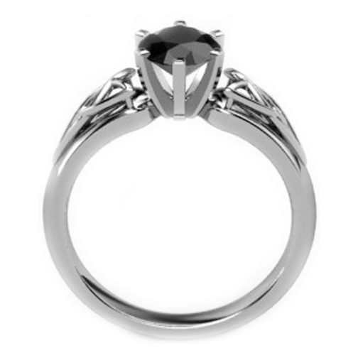 Black Diamond Triquetra Celtic Engagement Ring in White Gold