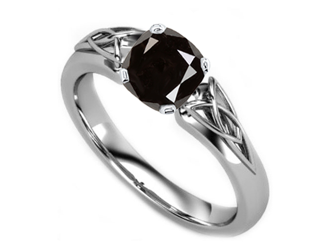 Black Cushion Diamond Triquetra Celtic Engagement Ring in 14K White Gold