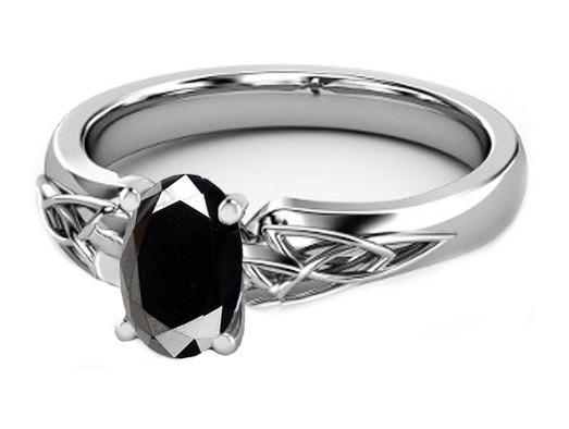 Black Oval Diamond Triquetra Celtic Engagement Ring in 14K White Gold