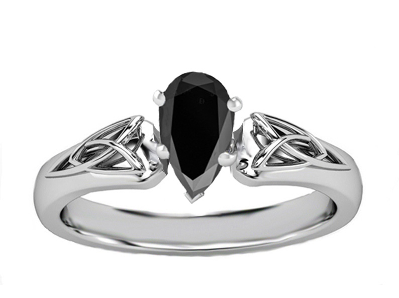 Black Pear Diamond Triquetra Celtic Engagement Ring in 14K White Gold