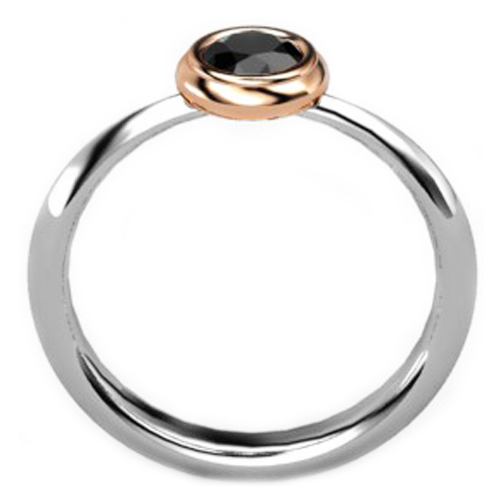 Petite Two Tone Black Diamond Bezel Ring