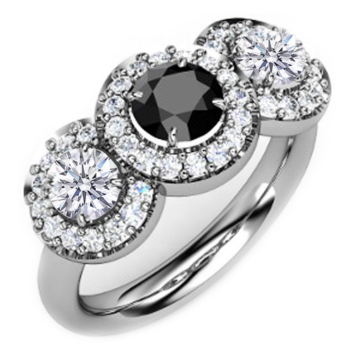 Three Stone Black Diamond Halo Ring 1.95 TCW