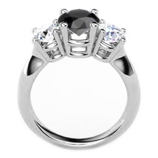 Three Stone Round Black and White Diamond White Gold Ring