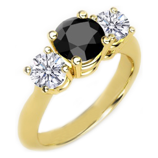 Three Stone Round Black and White Diamond Yellow Gold Ring