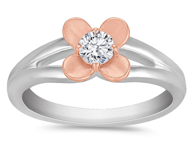 Rose Gold Floral Diamond Ring