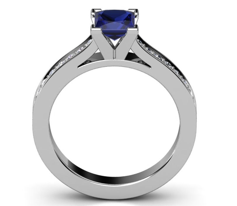 Princess Cut Sapphire 14K White Gold Ring with Diamond Band