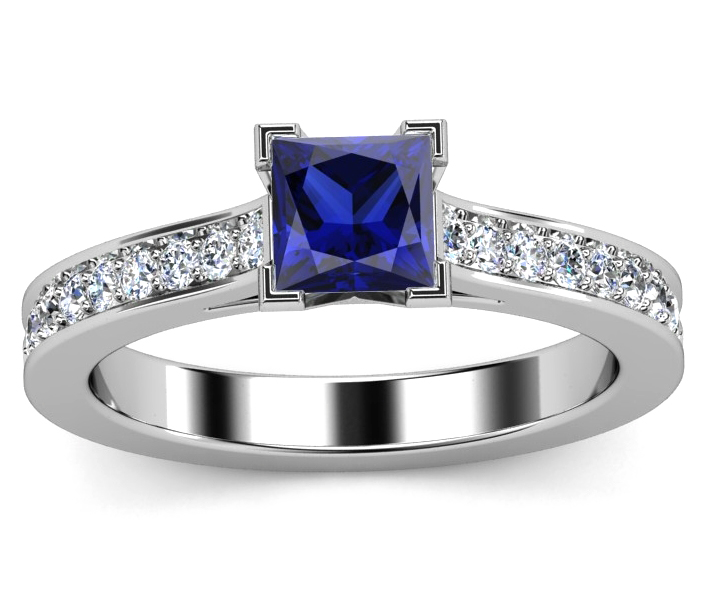 Princess Cut Diamond Vintage Engagement Ring With Blue Sapphire Accents