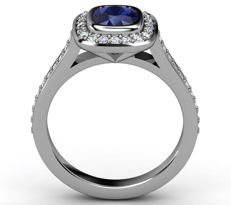 Blue Sapphire Cushion Halo of Diamonds Ring in 14K White Gold