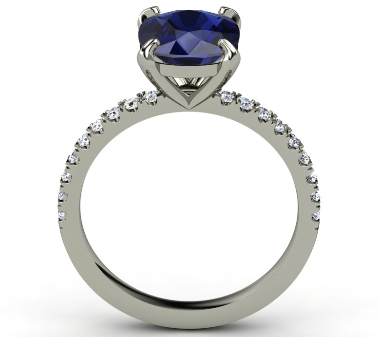 Large Cushion Blue Sapphire and Diamond Ring Band in 14K White Gold