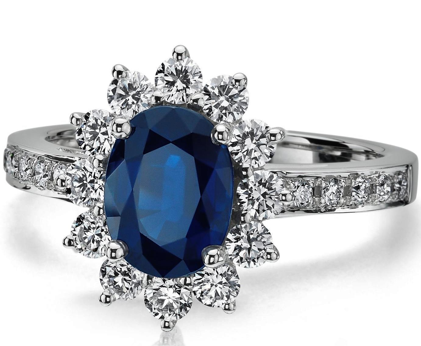 European Engagement Ring Oval Blue Sapphire Ring Diamond Halo In