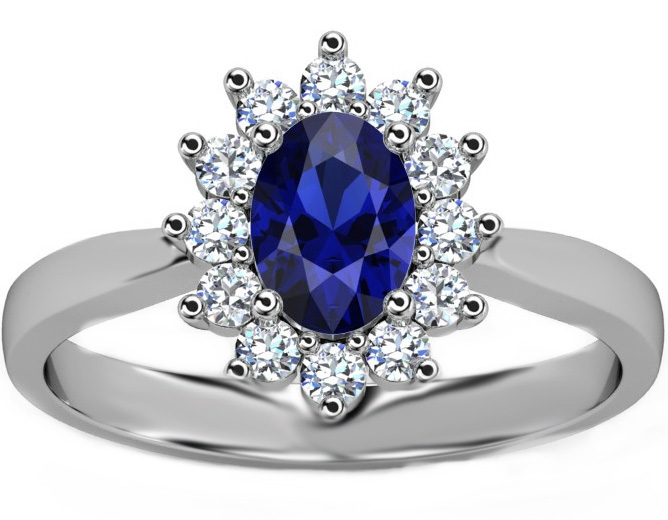 Oval Blue Sapphire Diamond Halo Royal Engagement Ring ...