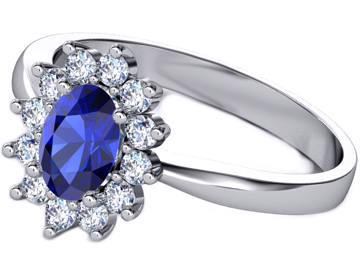 Oval Blue Sapphire Diamond Halo Royal Engagement Ring